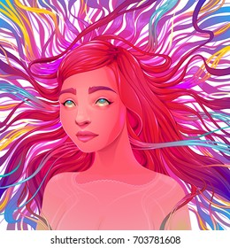Aesthetic Ecstatic. Vector portrait of a beautiful woman.