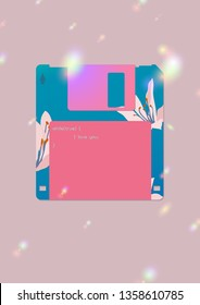 Aesthetic floppy disk icon with Cardwell lily flowers and Computer code (infinity love) text graphic, 80s - 90s computer accessories inspired graphic design