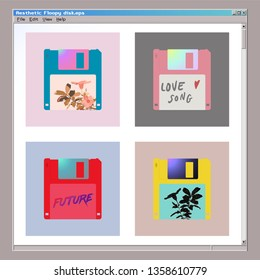 Aesthetic floppy disk icon set, 80s - 90s style inspired computer accessories with exotic flowers and typo design
