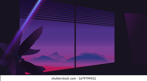 Aesthetic louver window mountain view with tropical plant, neon purple and pink sky, dark room ambient with glow light leak flare, 80s summer vibe
