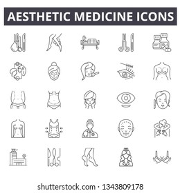 Aesthetic medicine line icons. Editable stroke. Concept illustrations: face, treatment, female procedure, skin beauty etc. Aesthetic medicine outline icons