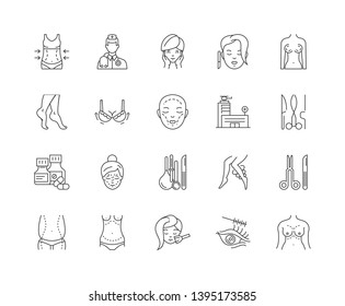Aesthetic medicine line icons, signs, vector set, outline illustration concept