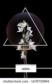 Aesthetic and nostalgic VHS style poster, card, cover design template, Orchid flowers, triangle line and sphere shape with OS windows style frame for texts