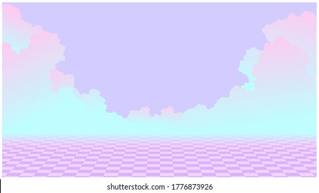 Aesthetic sweet neon sky scene and checkered tile floor illustration, cool purple pink and green techno summer vibe