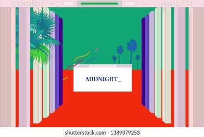 Aesthetic tropical palm tree in desktop OS style frame and roman columns decorations, retro - vintage nostalgic beach landscape illustration background