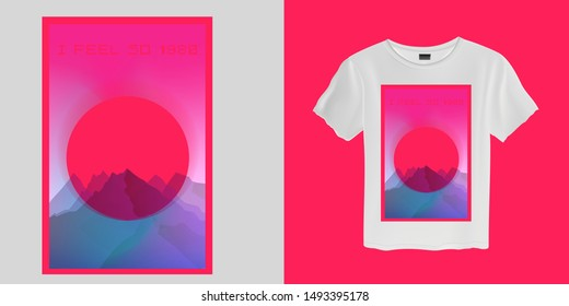 Aesthetic Vaporwave T-shirt Print Template with Sun and Mountains: 90s 80s Retro Cartoon Kawaii Otaku Hipster Style, Synthwave, Retrowave Neon Color Pastel Tones.