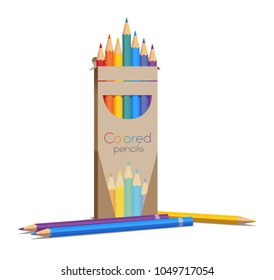 Aet of colored pencils contains seven rainbow colors