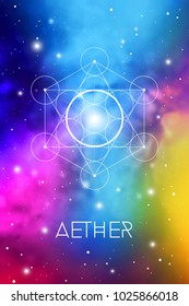 Aether element symbol inside Metatron Cube and Flower of Life in front of outer space cosmic background. Sacred geometry magic sign futuristic vector design.