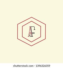 AS AF AFS letter logo design, Best line art logo design in black and red color with background.