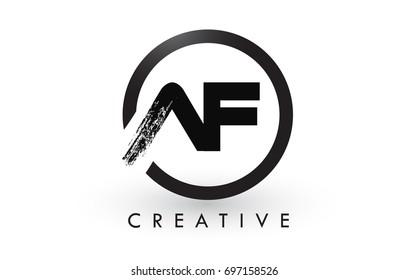 AF Brush Letter Logo Design with Black Circle. Creative Brushed Letters Icon Logo.