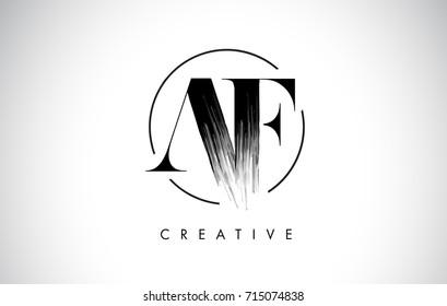 AF Brush Stroke Letter Logo Design. Black Paint Logo Leters Icon with Elegant Circle Vector Design.