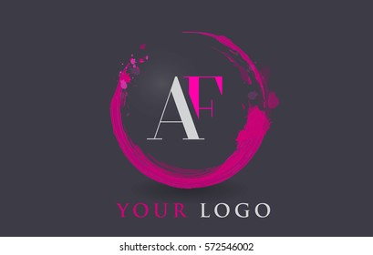 AF Circular Letter Brush Logo. Pink Brush with Splash Concept Design.