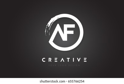 AF Circular Letter Logo with Circle Brush Design and Black Background.