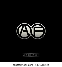 AF A F initial letter linked circle capital monogram logo modern template silver color edition