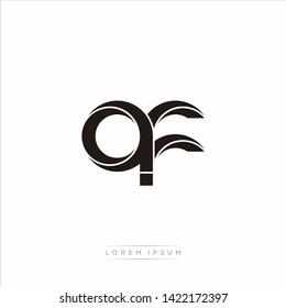 af a f  Initial Letter Split Lowercase Modern Monogram linked outline rounded logo