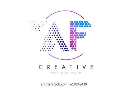 AF A F Pink Magenta Dotted Bubble Letter Logo Design. Dots Lettering Vector Illustration