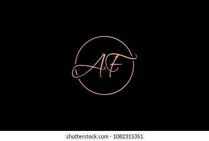 AF FA Circular Cursive Letter Initial Logo Design