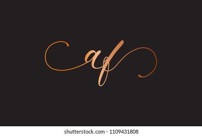 af fa a f Lowercase Circular Cursive Letter Initial Logo Design Template Vector Illustration