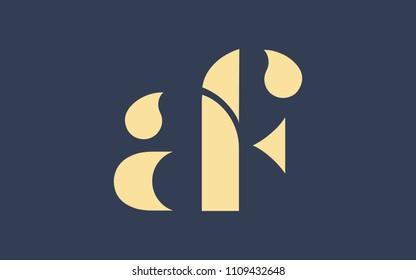 af fa a f Lowercase Letter Initial Logo Design Template Vector Illustration