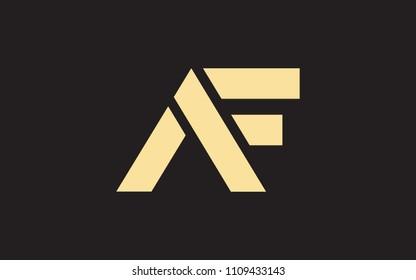 AF FA F A Uppercase Letter Initial Logo Design Template Vector Illustration