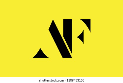 AF FA F A Uppercase Letter Initial Logo Design Template Vector Illustration