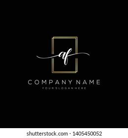 AF handwriting initial  logo template vector.