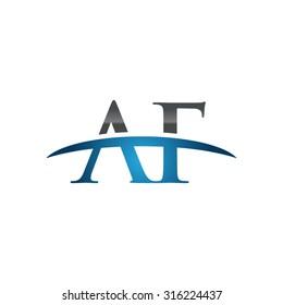AF initial company blue swoosh logo