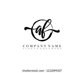 AF initial handwriting logo circle template vector
