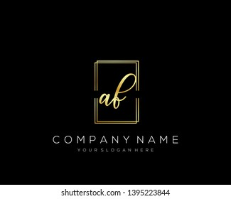 AF Initial handwriting logo template vector.