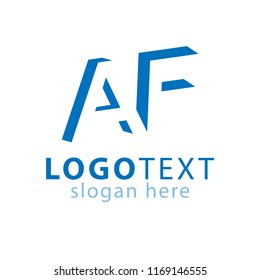 AF initial letter with negative space logo icon vector template