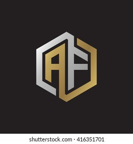AF initial letters loop linked hexagon elegant logo golden silver black background