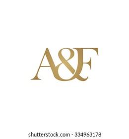 A&F Initial logo. Ampersand monogram logo gold