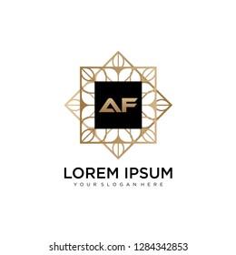 AF initial logo template vector