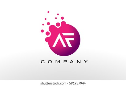 AF Letter Dots Logo Design with Creative Trendy Bubbles and Purple Magenta Colors.