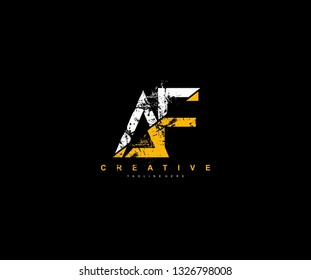 AF Letter Linked Brush Grunge Urban Type Style Logo