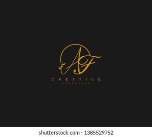 AF letter linked calligraphic monogram emblem style vector logo