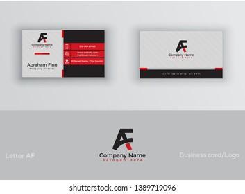 AF Letter Logo Corporate Business card