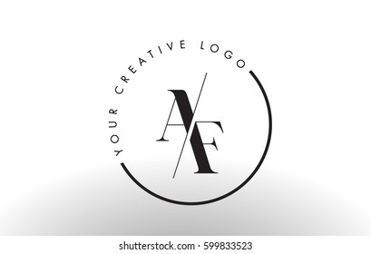 AF Letter Logo Design with Creative Intersected and Cutted Serif Font.