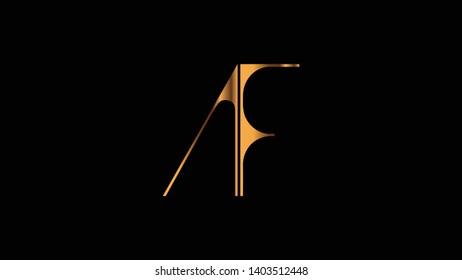 AF logo design golden template vector illustration minimal design