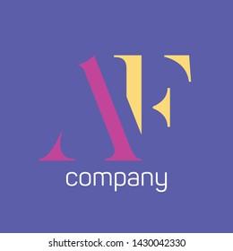 AF logo design. Monogram logo. Company logo.