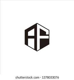 AF Logo Initial Monogram Negative Space Designs Templete with Black color and White Background