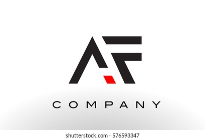 AF Logo.  Letter Design Vector with Red and Black Colors.