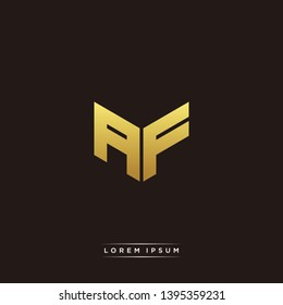 AF Logo Letter Initial Logo Designs Templete with Gold and Black Background