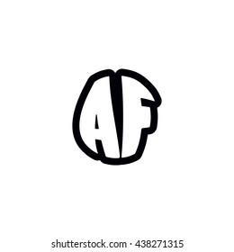 AF Logo. Vector Graphic Sphere Branding Letter Element. White Background