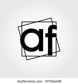 af lowercase initials square frame business logo