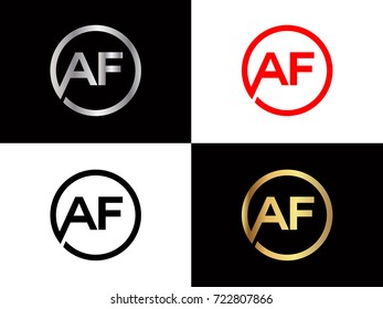 AF text gold black silver modern creative alphabet letter logo design vector icon
