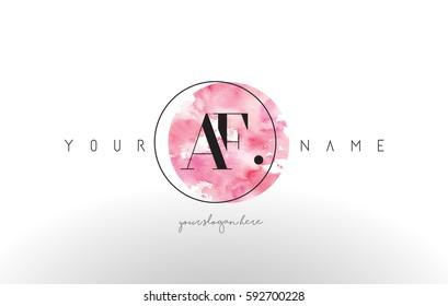 AF Watercolor Letter Logo Design with Circular Pink Brush Stroke.
