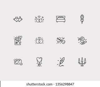 Affection icons set. Gender sign and affection icons with king size bed, girlfriend, candelabrum. Set of person for web app logo UI design.