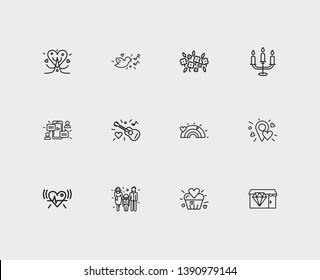 Affection icons set. Lovely cupcake and affection icons with jewelry shop, candelabrum, guitar. Set of talk for web app logo UI design.