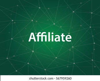 affiliate or affiliation business technology illustration with white text and green background